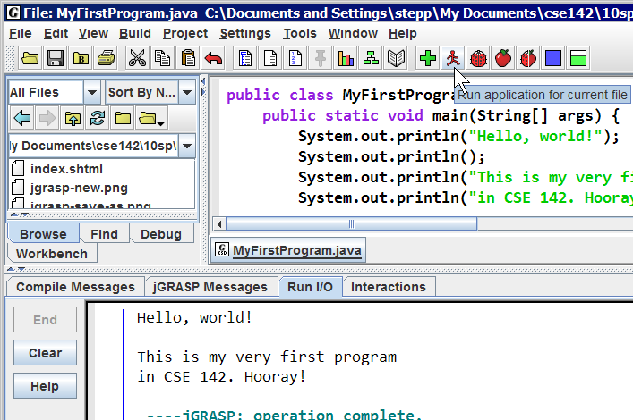 building java programs lab java basics jgrasp run